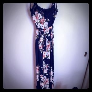 Floral maxi dress slit cocktail, wedding, party